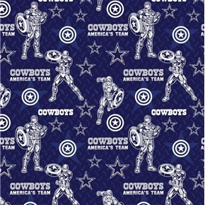 NFL Football Dallas Cowboys Marvel Mash-up Captain America Cotton Fabric