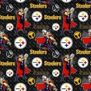 NFL Football Pittsburgh Steelers Marvel Mash-up Thor Cotton Fabric