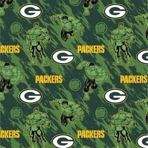 NFL Football Green Bay Packers Marvel Mash-up Hulk Cotton Fabric