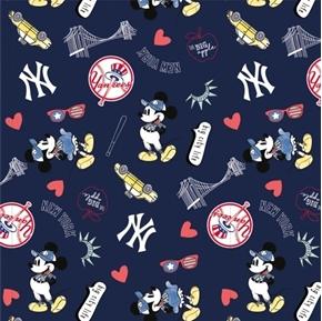 MLB Baseball New York Yankees Mickey Disney Mash-up Cotton Fabric