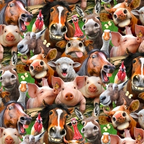 Farm Selfies Pig Cow Donkey Horse Chicken Funny Selfie Cotton Fabric