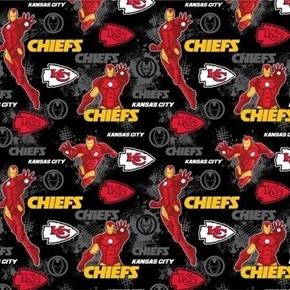 NFL Football Kansas City Chiefs Marvel Mash-up Ironman Cotton Fabric