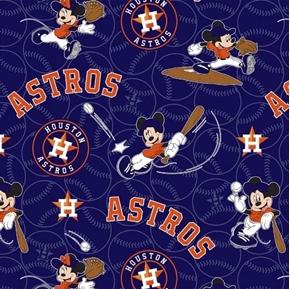 MLB Baseball Houston Astros Mickey Disney Mash-up Cotton Fabric