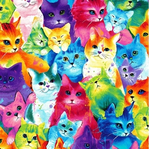 Multi Painted Bright Cats Cat Kitten Colorful Cotton Fabric