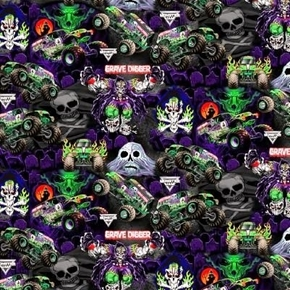 Monster Jam Monster Trucks Grave Digger Skulls Ghosts Cotton Fabric