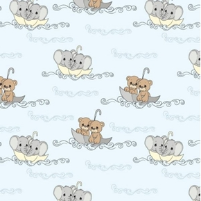 Precious Moments Ocean Floating Elephants and Bears Cotton Fabric