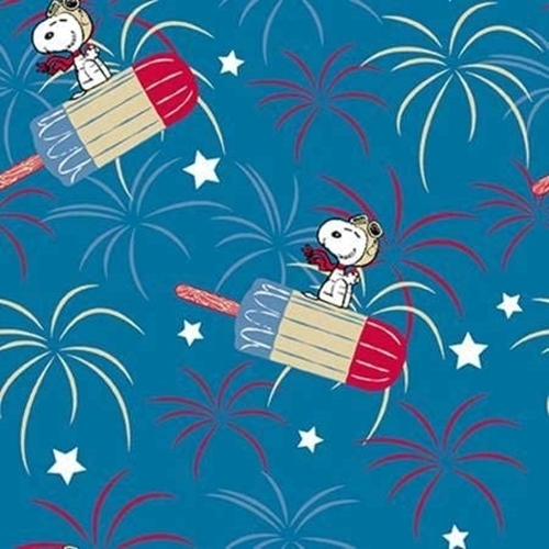 Snoopy Patriotic Popsicle Fireworks and Stars Blue Cotton Fabric