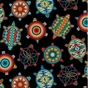 Tucson Native American Beaded Turtles Southwest Black Cotton Fabric