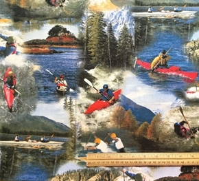Backroads Experience River Kayaking 2006 Kayak 24x22 Cotton Fabric