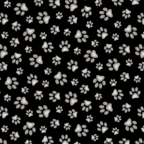 Adorable Pets Paw Print Dog Paw Prints Black Cotton Fabric