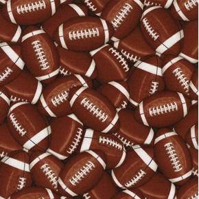 Packed Footballs Football Sports Balls Brown Cotton Fabric