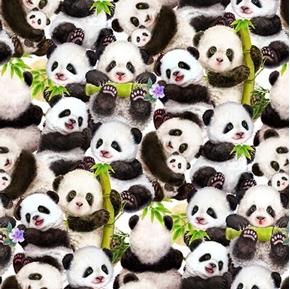 Panda Sanctuary Cute Pandas Mother and Cub Digital Cotton Fabric