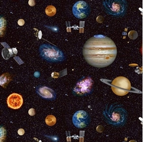 Planetary Missions Satellites and Planets 24x44 Cotton Fabric Panel
