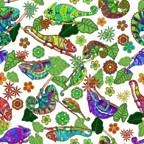 Color Me Chameleon Tossed Chameleons Lizards White Cotton Fabric