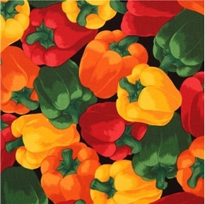 Peppers Red Green and Yellow Bell Pepper Black Cotton Fabric