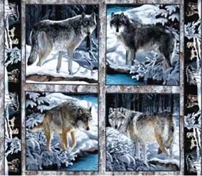 Wild Wings Silver Wolf Wolves in Wild Cotton Fabric Pillow Panel Set