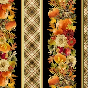 Harvest Fall Flowers Fruit and Pumpkins Metallic Stripe Cotton Fabric