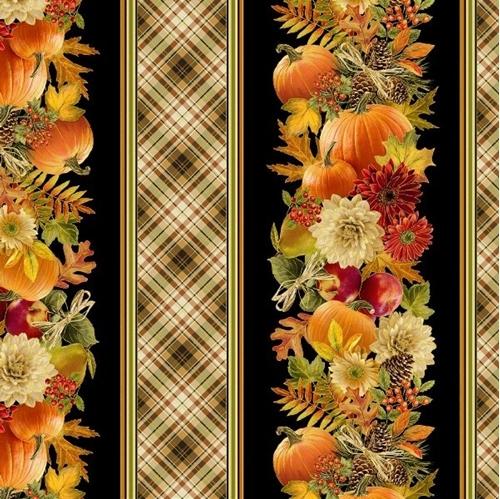 Harvest Fall Flowers Fruit and Pumpkins Metallic Stripe Cotton Fabric