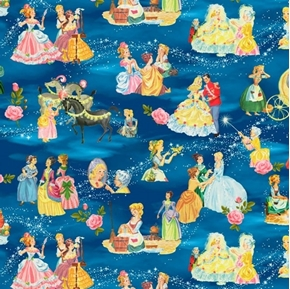 Cinderella's Tale Vintage Storybook Characters Blue Cotton Fabric