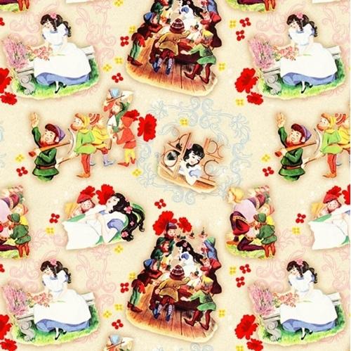 Mirror Mirror Snow White 7 Dwarves Vintage Storybook Cotton Fabric