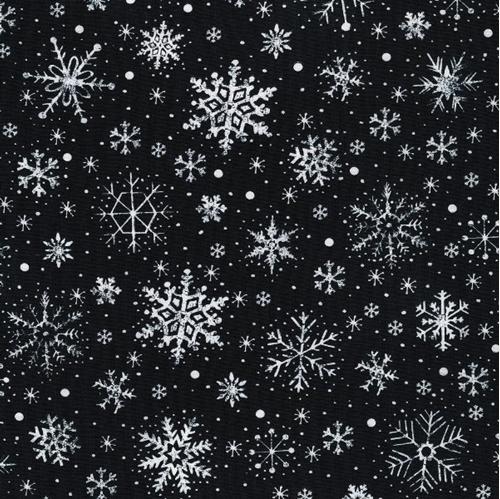 Let it Snow White Snowflakes on Black Cotton Fabric
