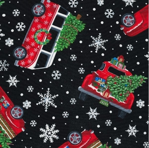 Let it Snow Red Trucks and Vans Christmas Trees Black Cotton Fabric