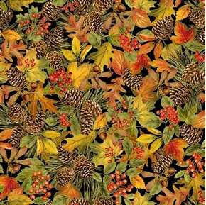 Harvest Leaves Pine Cones and Berries Metallic Autumn Cotton Fabric