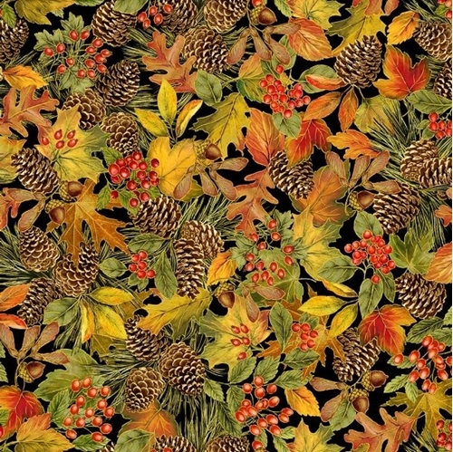 Harvest Leaves Pine Cones and Berries Metallic Autumn Cotton Fabric