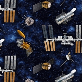 Planetary Missions Tossed Satellites Space Communication Cotton Fabric
