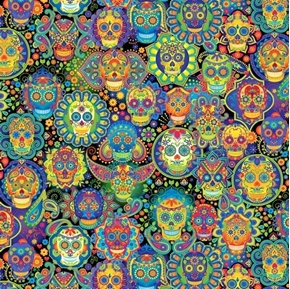 Bright Sugar Skulls Colorful Skull Day of Dead Folkloric Cotton Fabric