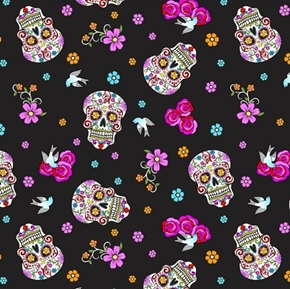 Calaveras Day of the Dead with Glitter Skulls Roses Doves Cotton Fabric