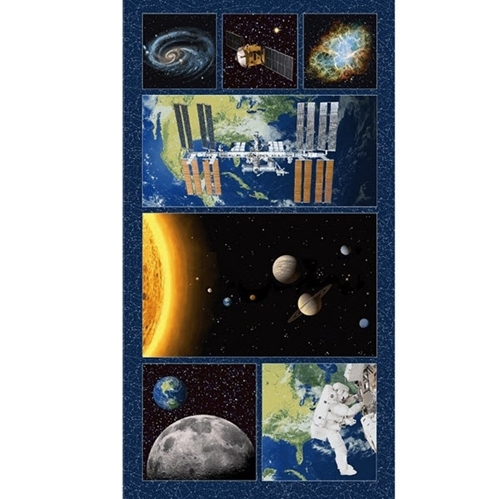 Planetary Missions Space Exploration Mission 24x44 Cotton Fabric Panel