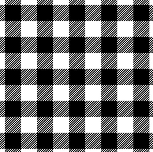 Flannel Buffalo Plaid Soft White and Black Plaid Flannel Cotton Fabric