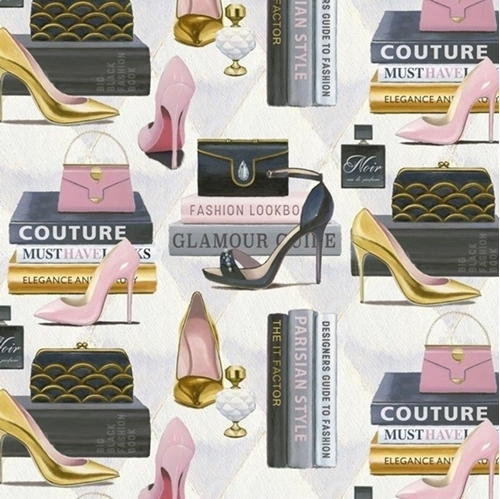Forever Fashion High Heel Shoes Purses Books Couture Cotton Fabric