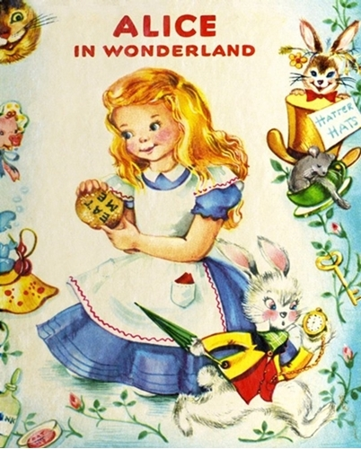 Alice in the Wonderland Vintage Storybook Large Cotton Fabric Panel