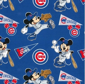 MLB Baseball Chicago Cubs Mickey Disney Mash-up Cotton Fabric