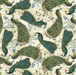 Peacock Arbor and Salt Air Large Peacocks Birds Cotton Fabric