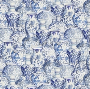 Peacock Arbor and Salt Air Ginger Jars Blue Ceramic Cotton Fabric