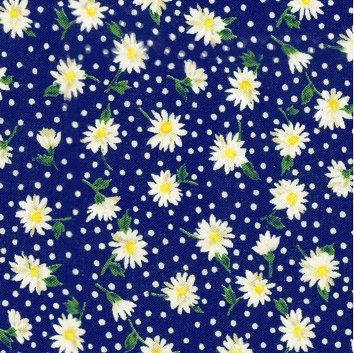 Floral Collection Daisies Tiny Daisy Flowers Blue Cotton Fabric