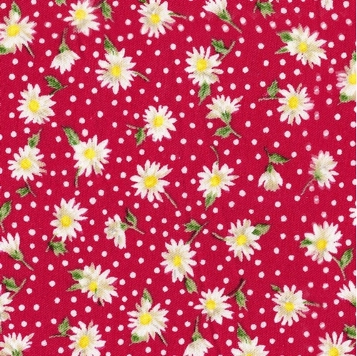 Floral Collection Daisies Tiny Daisy Flowers Red Cotton Fabric