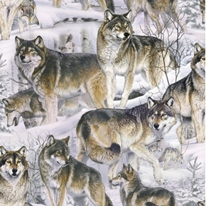 Animal Love Wolves in the Snow Wild Wolf Cotton Fabric