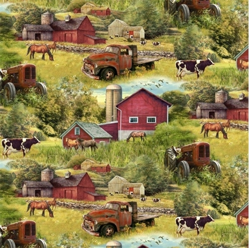 Animal Tradition Barns and Red Trucks Vintage Farm Cotton Fabric