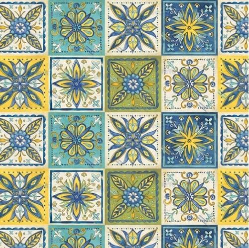 Tuscan Sun Italian Ceramic Tiles in Blues and Yellows Cotton Fabric