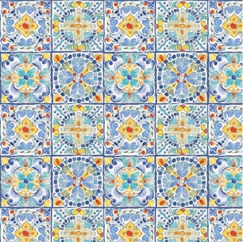 Morning Bloom Mosaic Floral Tiles Blues and Yellows Cotton Fabric