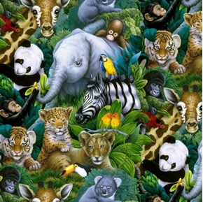 Wildlife A Rare Occasion African Baby Animals in Jungle Cotton Fabric