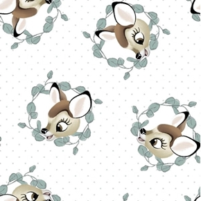 Disney Bambi Nursery Bambi Badge Leaf Wreathes White Cotton Fabric