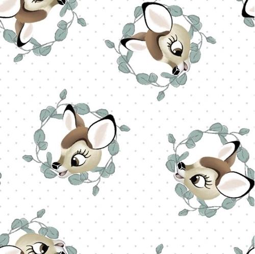 Disney Bambi Nursery Bambi Badge Leaf Wreathes White Cotton Fabric