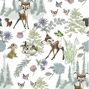 Disney Bambi Nursery Bambi and Friends Wild Flowers Cotton Fabric