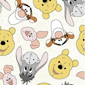 Disney Pooh Nursery and Friends Tossed Tigger Eeyore Cotton Fabric