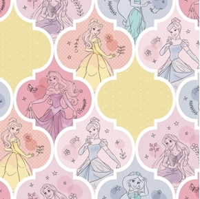 Disney Princess Pretty Princess Patch Ariel Belle Jasmine Cotton Fabric